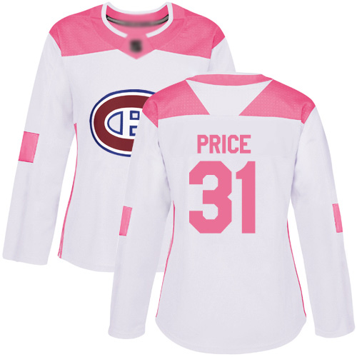 Women's Carey Price Authentic White/Pink Jersey: Hockey #31 Montreal Canadiens Fashion