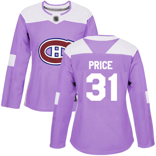 Women's Carey Price Authentic Purple Jersey: Hockey #31 Montreal Canadiens Fights Cancer Practice