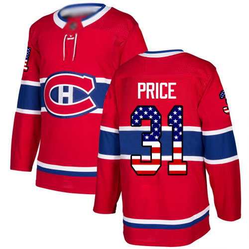 Men's Carey Price Authentic Red Jersey: Hockey #31 Montreal Canadiens USA Flag Fashion