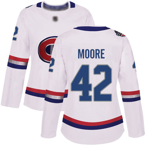Adidas Women's Dominic Moore Authentic White Jersey: NHL #42 Montreal Canadiens 2017 100 Classic