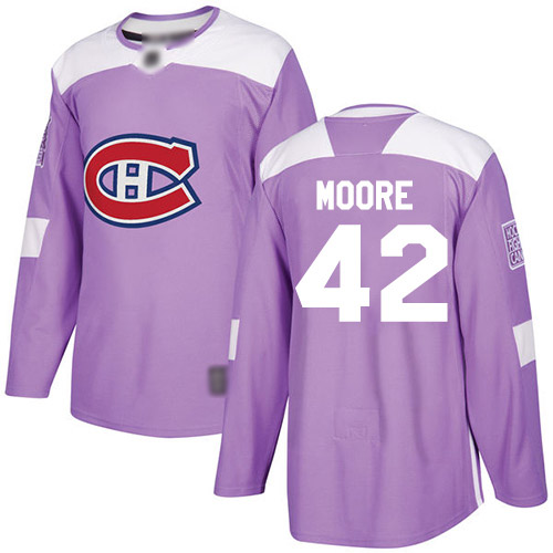 Adidas Youth Dominic Moore Authentic Purple Jersey: NHL #42 Montreal Canadiens Fights Cancer Practice