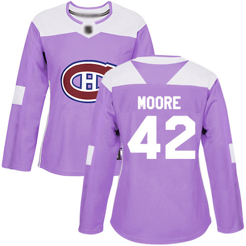 Adidas Women's Dominic Moore Authentic Purple Jersey: NHL #42 Montreal Canadiens Fights Cancer Practice