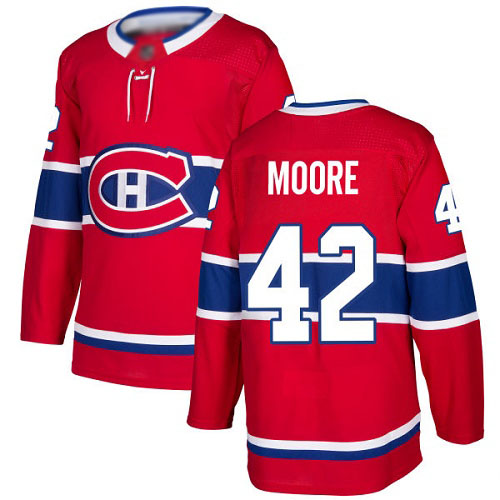 Adidas Youth Dominic Moore Authentic Red Home Jersey: NHL #42 Montreal Canadiens