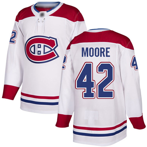 Reebok Youth Dominic Moore Authentic White Away Jersey: NHL #42 Montreal Canadiens