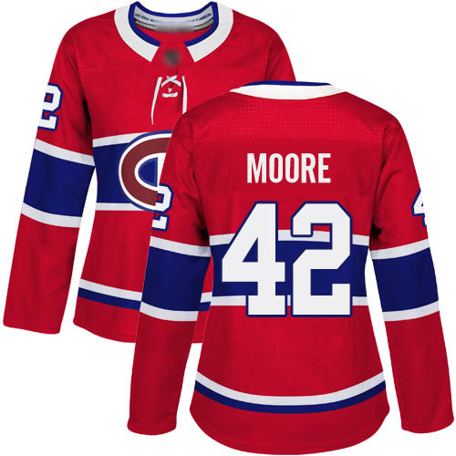 Adidas Women's Dominic Moore Authentic Red Home Jersey: NHL #42 Montreal Canadiens