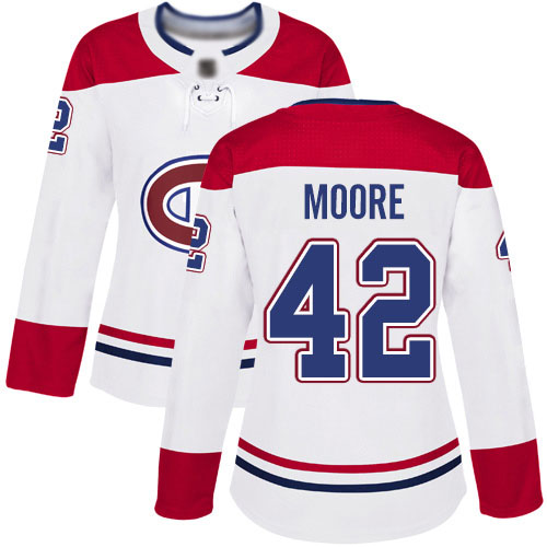 Reebok Women's Dominic Moore Authentic White Away Jersey: NHL #42 Montreal Canadiens