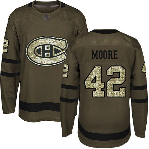 Adidas Youth Dominic Moore Authentic Green Jersey: NHL #42 Montreal Canadiens Salute to Service