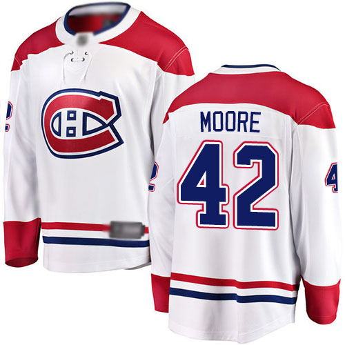 Fanatics Branded Men's Dominic Moore Breakaway White Away Jersey: NHL #42 Montreal Canadiens