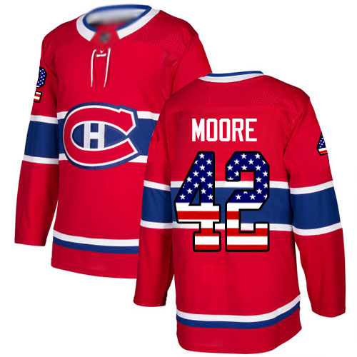 Adidas Youth Dominic Moore Authentic Red Jersey: NHL #42 Montreal Canadiens USA Flag Fashion