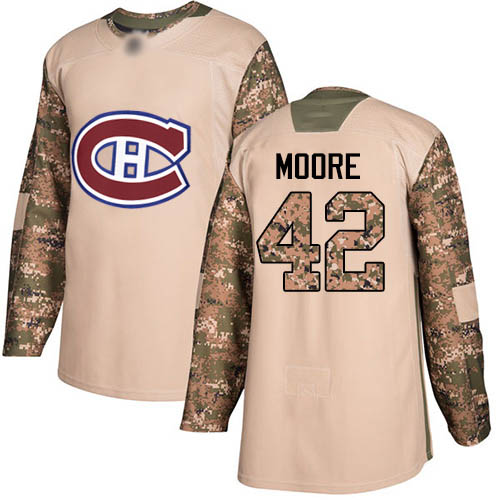 Adidas Youth Dominic Moore Authentic Camo Jersey: NHL #42 Montreal Canadiens Veterans Day Practice