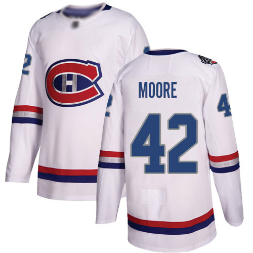 Adidas Youth Dominic Moore Authentic White Jersey: NHL #42 Montreal Canadiens 2017 100 Classic