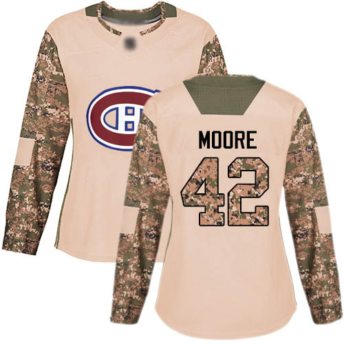 Adidas Women's Dominic Moore Authentic Camo Jersey: NHL #42 Montreal Canadiens Veterans Day Practice