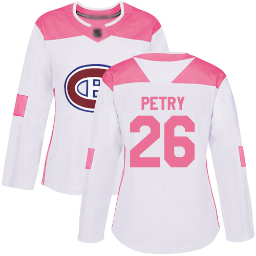 Women's Jeff Petry Authentic White/Pink Jersey: Hockey #26 Montreal Canadiens Fashion