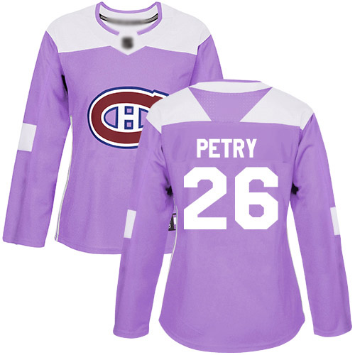 Women's Jeff Petry Authentic Purple Jersey: Hockey #26 Montreal Canadiens Fights Cancer Practice