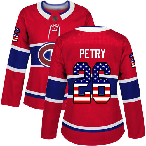 Women's Jeff Petry Authentic Red Jersey: Hockey #26 Montreal Canadiens USA Flag Fashion