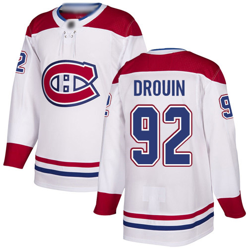Reebok Youth Jonathan Drouin Authentic White Away Jersey: NHL #92 Montreal Canadiens