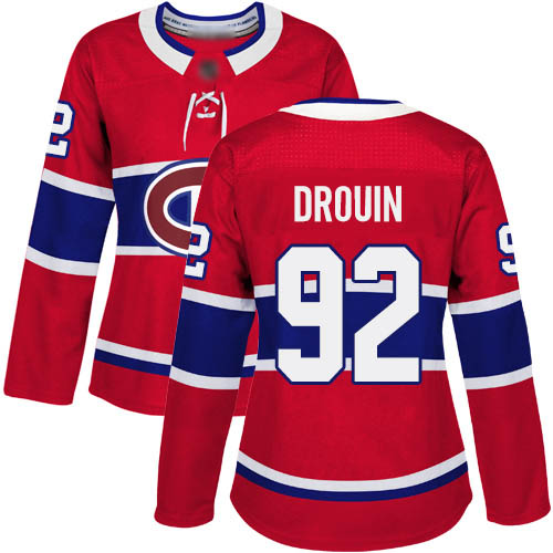 Adidas Women's Jonathan Drouin Premier Red Home Jersey: NHL #92 Montreal Canadiens