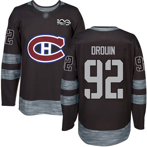 Adidas Men's Jonathan Drouin Authentic Black Jersey: NHL #92 Montreal Canadiens 1917-2017 100th Anniversary