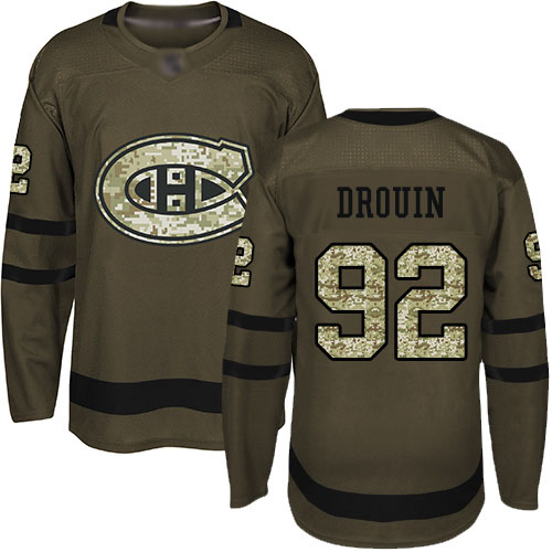 Adidas Youth Jonathan Drouin Premier Green Jersey: NHL #92 Montreal Canadiens Salute to Service