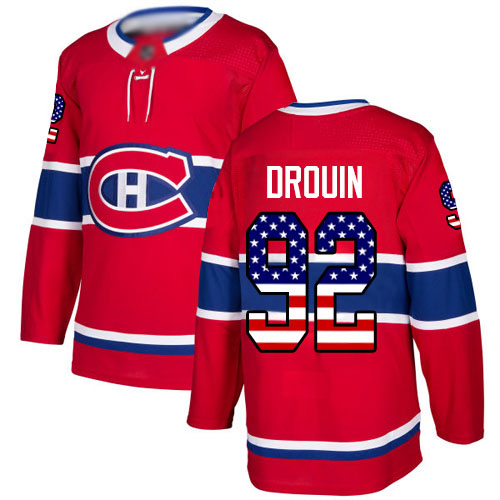 Adidas Men's Jonathan Drouin Authentic Red Jersey: NHL #92 Montreal Canadiens USA Flag Fashion