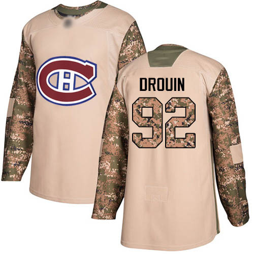 Adidas Men's Jonathan Drouin Authentic Camo Jersey: NHL #92 Montreal Canadiens Veterans Day Practice