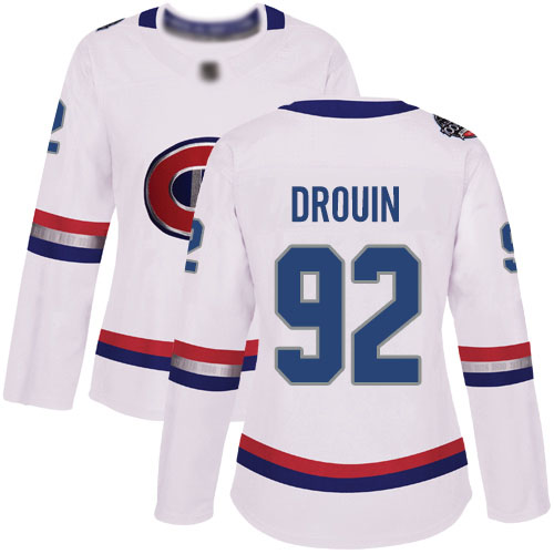 Adidas Women's Jonathan Drouin Authentic White Jersey: NHL #92 Montreal Canadiens 2017 100 Classic