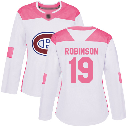 Adidas Women's Larry Robinson Authentic White/Pink Jersey: NHL #19 Montreal Canadiens Fashion