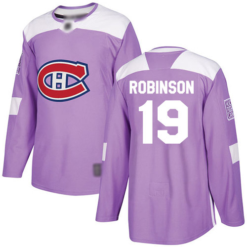 Adidas Youth Larry Robinson Authentic Purple Jersey: NHL #19 Montreal Canadiens Fights Cancer Practice