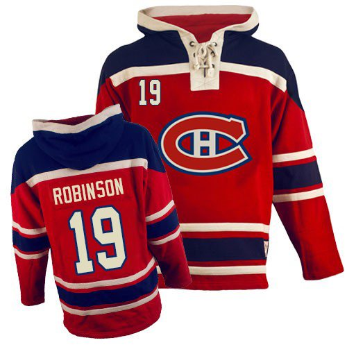 Old Time Hockey Men's Larry Robinson Authentic Red Jersey: NHL #19 Montreal Canadiens Sawyer Hooded Sweatshirt