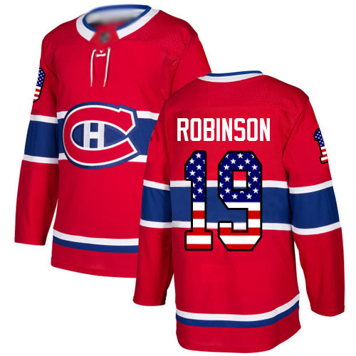 Adidas Men's Larry Robinson Authentic Red Jersey: NHL #19 Montreal Canadiens USA Flag Fashion