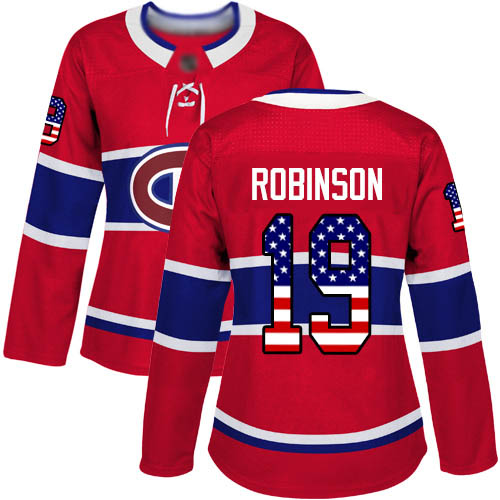 Adidas Women's Larry Robinson Authentic Red Jersey: NHL #19 Montreal Canadiens USA Flag Fashion