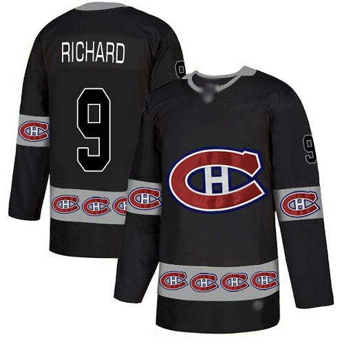 Men's Maurice Richard Authentic Black Jersey: Hockey #9 Montreal Canadiens Team Logo Fashion