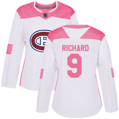 Women's Maurice Richard Authentic White/Pink Jersey: Hockey #9 Montreal Canadiens Fashion