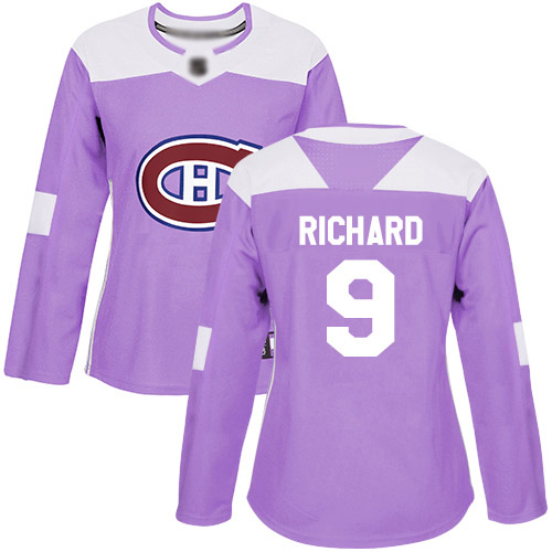 Women's Maurice Richard Authentic Purple Jersey: Hockey #9 Montreal Canadiens Fights Cancer Practice