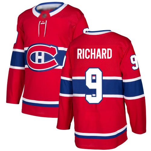 Men's Maurice Richard Premier Red Home Jersey: Hockey #9 Montreal Canadiens