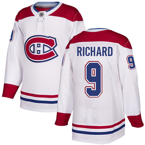 Men's Maurice Richard Authentic White Away Jersey: Hockey #9 Montreal Canadiens