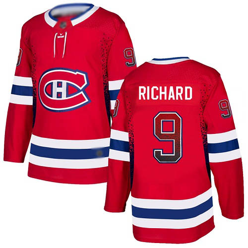 Men's Maurice Richard Authentic Red Jersey: Hockey #9 Montreal Canadiens Drift Fashion