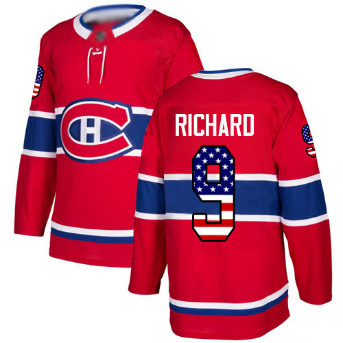 Men's Maurice Richard Authentic Red Jersey: Hockey #9 Montreal Canadiens USA Flag Fashion