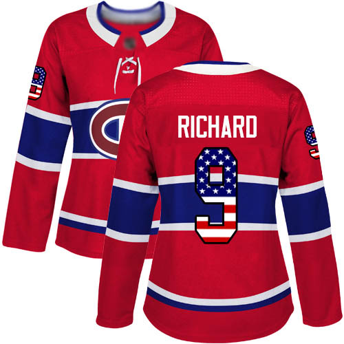 Women's Maurice Richard Authentic Red Jersey: Hockey #9 Montreal Canadiens USA Flag Fashion