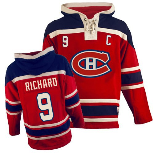 Old Time Hockey Men's Maurice Richard Authentic Red Jersey: Hockey #9 Montreal Canadiens Sawyer Hooded Sweatshirt