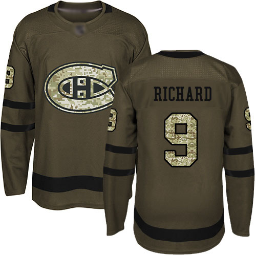 Men's Maurice Richard Authentic Green Jersey: Hockey #9 Montreal Canadiens Salute to Service