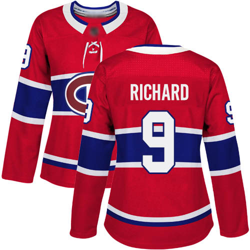 Women's Maurice Richard Authentic Red Home Jersey: Hockey #9 Montreal Canadiens