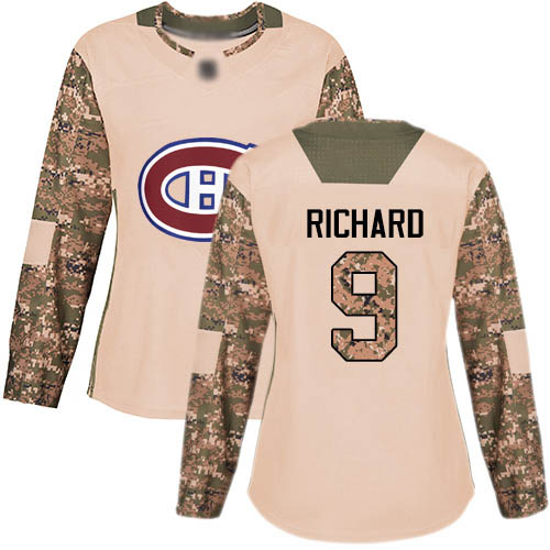 Women's Maurice Richard Authentic Camo Jersey: Hockey #9 Montreal Canadiens Veterans Day Practice