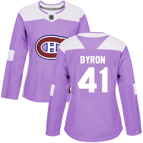 Adidas Women's Paul Byron Authentic Purple Jersey: NHL #41 Montreal Canadiens Fights Cancer Practice