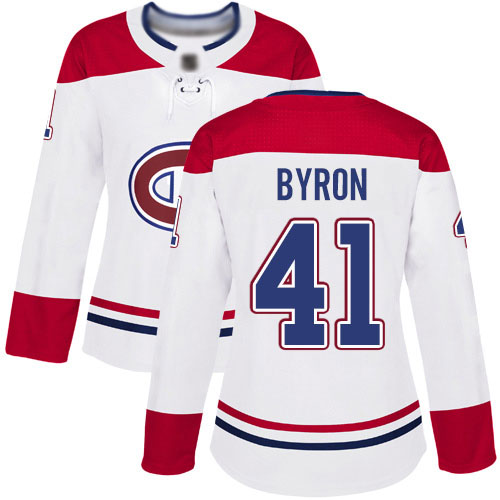 Reebok Women's Paul Byron Authentic White Away Jersey: NHL #41 Montreal Canadiens