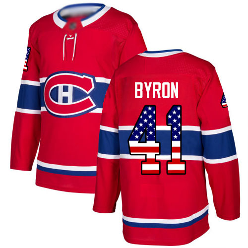 Adidas Youth Paul Byron Authentic Red Jersey: NHL #41 Montreal Canadiens USA Flag Fashion