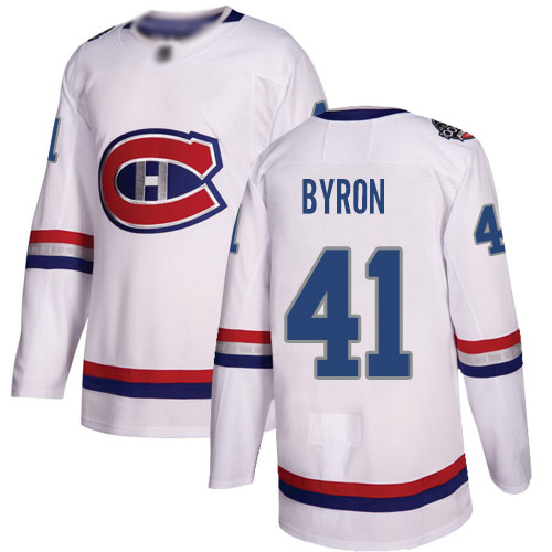 Adidas Youth Paul Byron Authentic White Jersey: NHL #41 Montreal Canadiens 2017 100 Classic