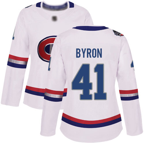 Adidas Women's Paul Byron Authentic White Jersey: NHL #41 Montreal Canadiens 2017 100 Classic