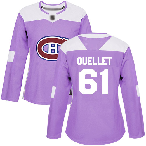 Adidas Women's Xavier Ouellet Authentic Purple Jersey: NHL #61 Montreal Canadiens Fights Cancer Practice