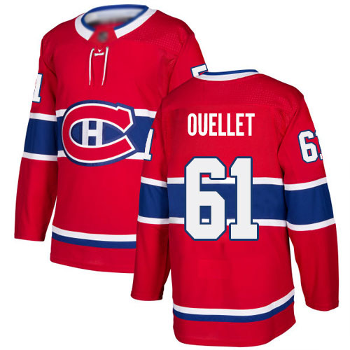 Adidas Men's Xavier Ouellet Authentic Red Home Jersey: NHL #61 Montreal Canadiens